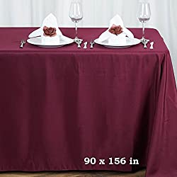 LinenTablecloth 90 x 156-Inch Rectangular Polyester Tablecloth Burgundy