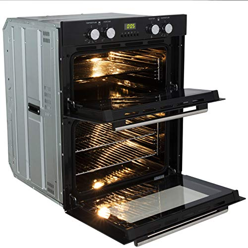 51mVUd7V5UL. SS500  - SIA DO101 60cm Black Built Under Double Electric Fan Oven With Digital Timer