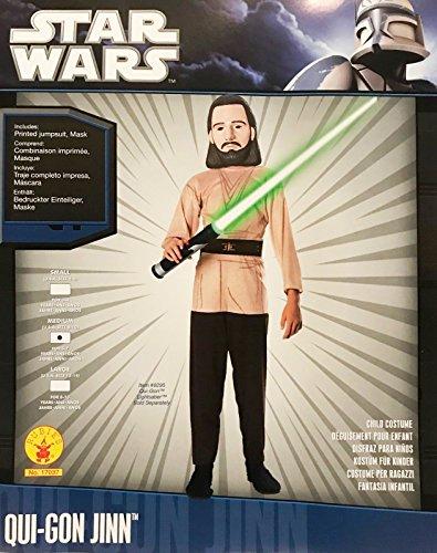 Rubies - 17073 - Star Wars - Kinder Kostüm - Qui-Gon Jinn - Größe M - enhält: bedruckten Einteiler & Maske (Jinn Gon Kostüm Qui)