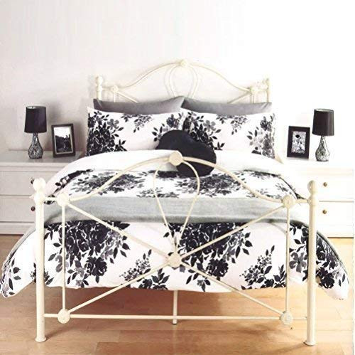 LUXURY FLORENCE FLORAL LEAF FLOWERS BLACK & WHITE DUVET SET QUILT COVER BEDDING (King Size) by Pieridae