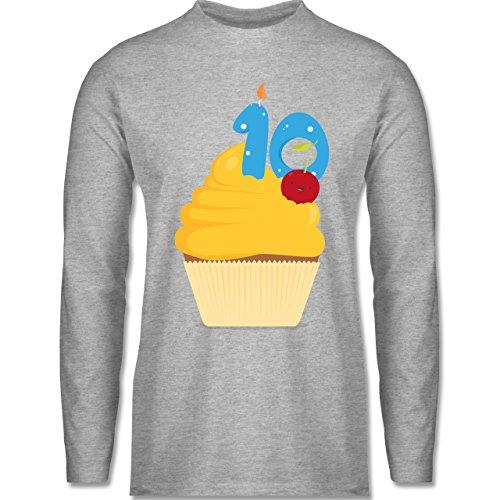 Geburtstag - 10. Geburtstag Cupcake - Longsleeve / langärmeliges T-Shirt für Herren Grau Meliert