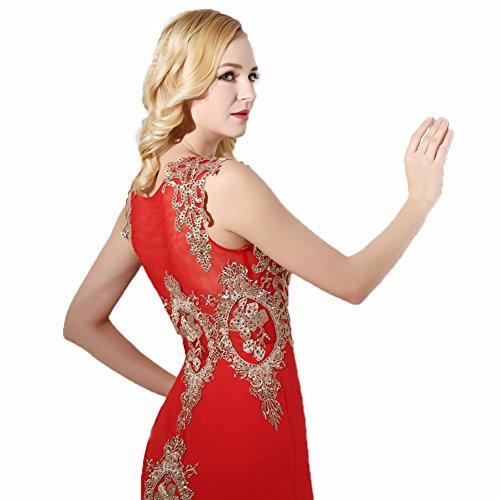 Ikerenwedding Damen Empire Kleid Rot - Rot