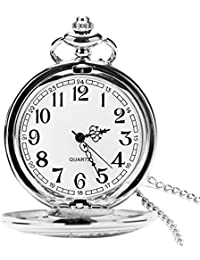 UEOTO Herren Unisex Analog Quarz Taschenuhr mit Halskette Kette Retro Quarzuhr Silber (Silber)