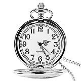 Orologio da tasca con catena, classico vintage quarzo ciondoli orologi taschino per Dad/Grandfather/nonno, orologio da tasca da uomo come retro regali per la festa del papà/anniversaire/Noël (Argento)