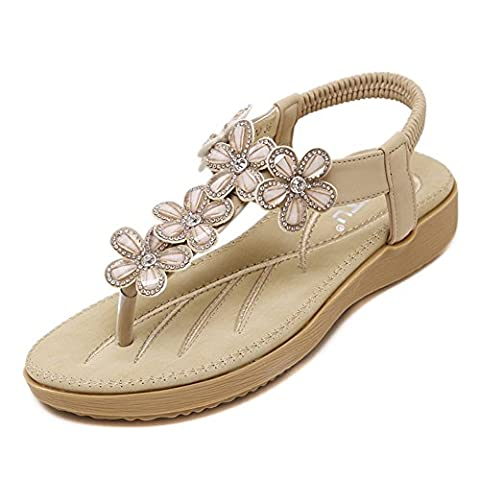 Minetom Women Summer Bohemian Folk Rhinestone Flowers Thong Flat Skid Resistant Soft Flip Flops Clip Toe Sandals Apricot UK 3.5