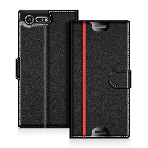 coodio Sony Xperia XZ Premium Hülle Leder Lederhülle Ledertasche Wallet Handyhülle Tasche Schutzhülle mit Magnetverschluss/Kartenfächer für Sony Xperia XZ Premium,Schwarz/Rot