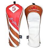 Craftsman Golf rot braun weiß PU Leder Driver/FAIRWAY HOLZ/Hybrid Schlägerhaube # 1# 3# 5x, #5 Wood cover