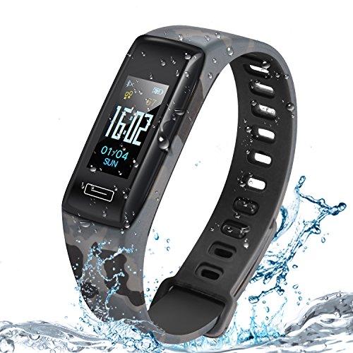 Luscreal Fitness Tracker,Tracker attività con cardiofrequenzimetro,IP67 Waterproof Smart Fitness Watch con pedometro,contacalorie,sleep monitor per bambini donne e uomini,telefono iOS Android (Grigio)