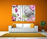 Wandbild Glasbild Holz Blüten Buddha Wandmotiv WB0544 Selbstklebende Folie - XS - 40x28cm (BxH)