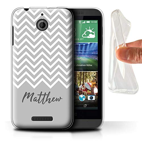 eSwish Personalisiert Individuell Handschrift Chevron Streifen Gel/TPU Hülle für HTC Desire 510 / Grau Design/Initiale/Name/Text Schutzhülle/Case/Etui (Case Desire Htc Chevron Für 510)