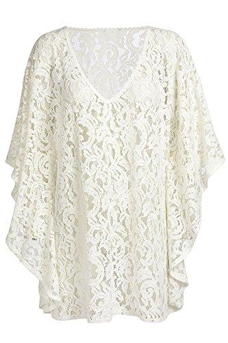 Mesdames blanc Sexy V Cou Plage Kaftan Robe (Taille unique, Blanc) Blanc
