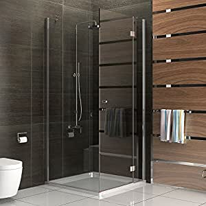 rahmenlose duschkabine alpenberger echtglas eck dusche glasdusche ca 100 x 100 x 200 cm. Black Bedroom Furniture Sets. Home Design Ideas