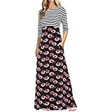 XJLUS-Apparel Long Sleeve Dresses For Women Summer Maxi Mini Girls Floral Print High Waist Boho Long Maxi Dresses With Pockets
