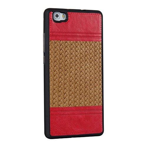 Cover Per Huawei P8 Lite, Asnlove TPU Moda Morbida Custodia Linee Intrecciate Caso Elegante Ultra Sottile Cassa Braided Stile Tessere Case Bumper Per Huawei P8 Lite - Rosa Marrone