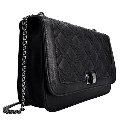 f37ab1ea23bbc CRAZYCHIC - Damen Kette Tasche mit Gesteppte Leder - Kettenhenkel Handtasche  - Steppmuster Schultertasche - Stepptasche ...