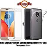 MOTO E4 PLUS Back Cover / E4 PLUS Back Cover (COMBO OFFER ) For ( MOTO E4 PLUS / E4 PLUS) - Ultra Thin Clear Transparent Flexible Soft TPU Slim Back Case Cover + Premium Full Screen 2.5D 9H Hardness Tempered Glass Screen Protector (Black) (TPU-WHITE)