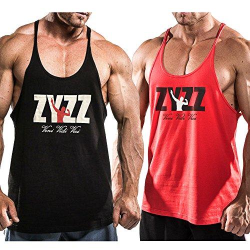 Alivebody Canotta Uomo Bodybuilding Tank Top Palestra Stringer Veste Nero+Rosso L