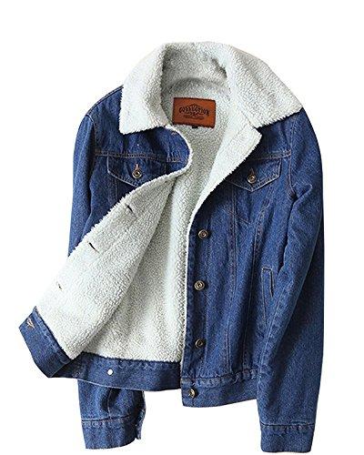 Minetom inverno giacca di jeans donna caldo giacche corta capispalla peluche allineato spesso cappotto ab foderato blu scuro it 44