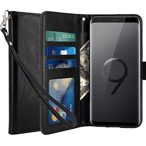 Coque Galaxy S9, LK Housse Coque Protecteur Clapet Portefeuille Cuir PU Luxe avec Fentes et Support de Carte pour Samsung Galaxy S9