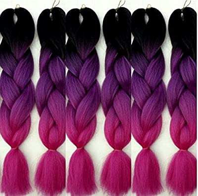 "24"" 5x Ombre Braids Black, Purple & Pink 3Tone Braids hair Extensions by Grace Plus Hair"