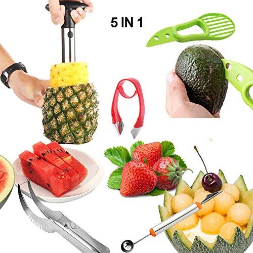 Magicdo 5in 1set affetta frutta, affettatrice frutta verdura Plus, Kitchen Fruit kit per melone/paletta, ananas Corer, pelapatate banana, fragola Sbramino, anguria affettatrice