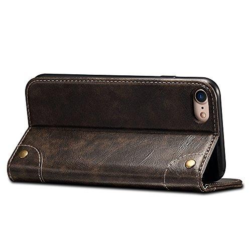 """Apple iPhone 6/6s 4,7"""" Leder Hülle Flip Case Handytasche und Brieftasche mit Kreditkarten Kartenfach mit Unsichtbarem Magnet Verschluss Standfunktion, Braun Schwarz"""