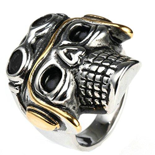 SonMo Herren Ringe Schädel Toten Kopf Motor Hut Schutzbrillen Trauringe Aus Edelstahl Herren Ringe Metal Siegelring Schwarz Silber Ring Schwarz Gothic Größe:60 (19.1)