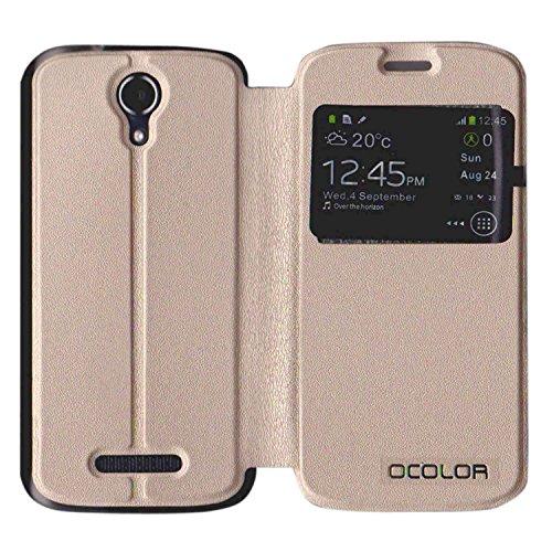 Guran® PU Leder Tasche Etui für DOOGEE X3 Smartphone Flip Cover Stand Hülle Case-gold