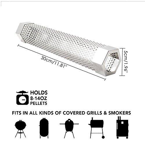 KOBWA Pellet-Räucherröhre, 30,5 cm, quadratisch, 5 Stunden Brennrauch, für jeden Grill oder Smoker, Heiß- oder Kalt-Räucher, Grill, heißes und Kaltes Rauchen, aus Edelstahl
