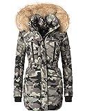 Marikoo Damen Winter Mantel Steppmantel Nova (vegan hergestellt) Army Grey Gr. XL