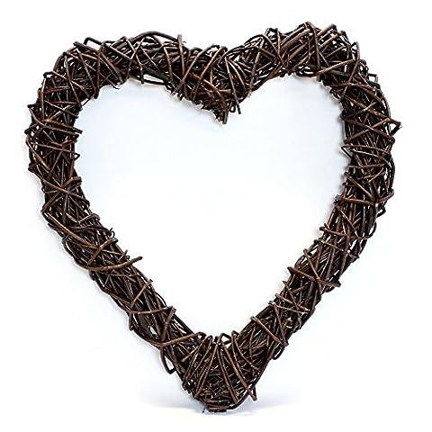Offen verflochtenes Deko-Herz aus Naturweide in rustikalem Design