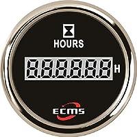 Contador de horas de funcionamiento Lancha Instrumentos grifos Lancha port Motor, Chromring-Ziffernblatt schwarz