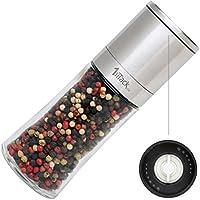 1aTTack.de Moulin à poivre Moulin à sel Moulin à épices vide avec broyeur en céramique Emballage cadeau–150ml–Hauteur 16cm–acier inoxydable