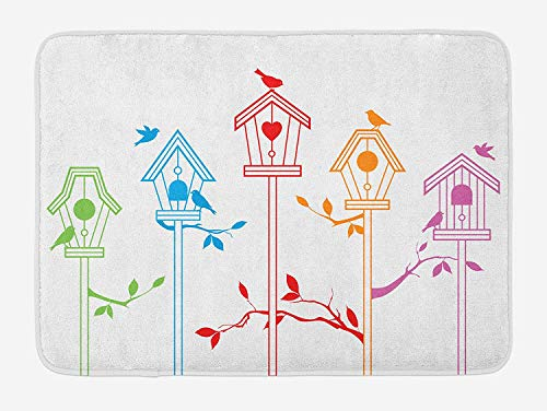 tgyew Birds Bath Mat, Sweet Colorful Bird Houses Nest with Flying Birds on The Roof Branches Animal Life, Plush Bathroom Decor Mat with Non Slip Backing, 23.6 W X 15.7 W Inches, Multicolor -