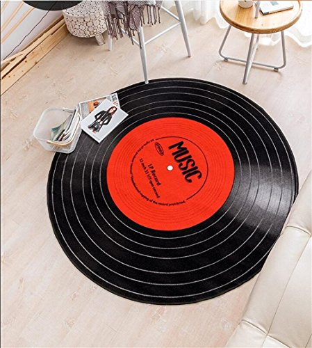Personnalité Creative Record Forme Ronde Tapis Moderne Minimaliste Chambre Salon Table Basse Ordinateur Chaise D'ordinateur Noir Zone Tapis/Tapis