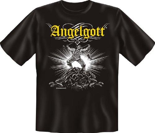Angler T-Shirt schwarz I Angel-Gott I Angel-Shirt I Geburtstag-Geschenk lustig bedruckt mit Angler-Urkunde