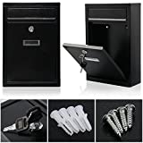GN Lockable-black-steel-wall-mounted-letter-post-mail-box-mailbox-postbox-letterbox