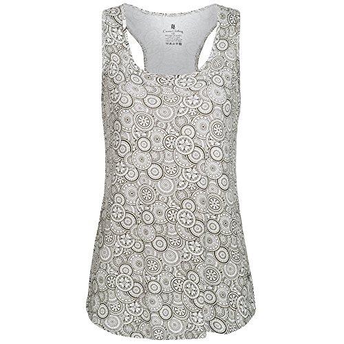 lilikoi Mujer Yoga Lifestyle Sport Classic Camiseta Top bambú, mujer, color Print Weiss, tamaño medium