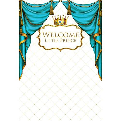 Blau Vorhang gold CROWN PRINCE Hintergrund Fotografie Neugeborene Baby Boy Royal Geburtstag Party Foto Booth Hintergründe 5x 7ft
