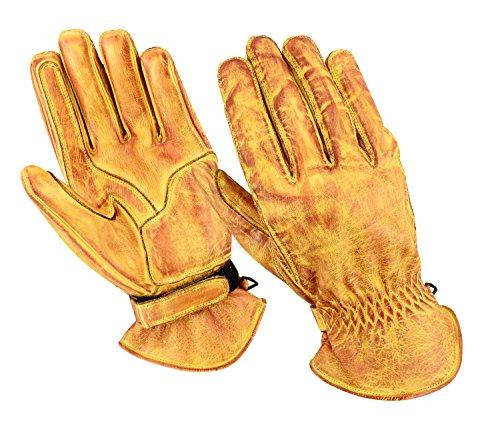 BOSmoto - Guantes de piel encerados para motocicleta, para carreras, kevlar, talla L, color beige