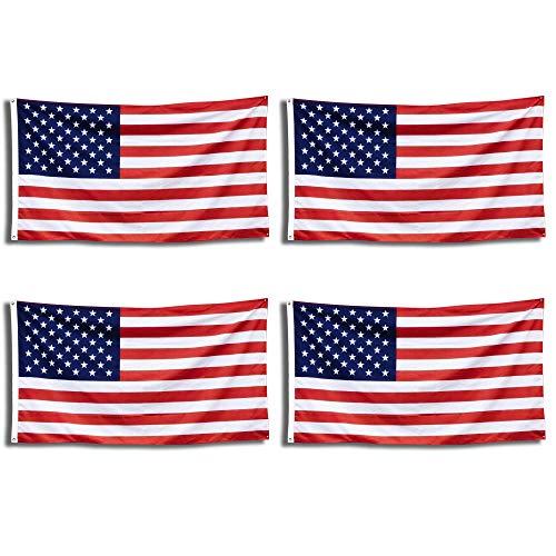 Nylon Flag (4Pack-American Flag-3x 5ft. 210D Nylon USA Flagge-Schnell Trocken UV-geschützt/farbbeständige-alle Wetter Indoor/Outdoor-USA Pride-Tribute To Veteranen, Soldaten, Beamte & Country)