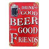 Blechschild Retro Bier Magnet-Metallschild Werbeschild 20x30 cm Türschild Bier Sprüche Deko Wandschild Vintage Beer Motiv