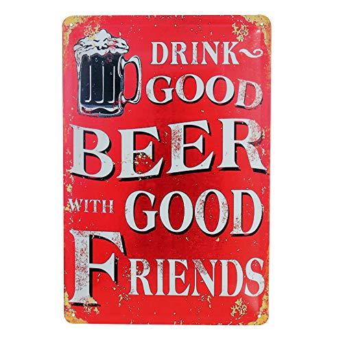 Blechschild Retro Bier Geschenk Magnet-Metall-Schild mit Sprüchen vintage lustige Türschilder Bier Schild nostalgie Deko Bar-Schild Beer Motiv 20x30 cm