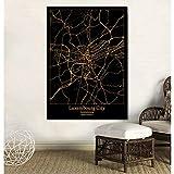UDIYXC Luxemburg Schwarz und Gold Stadtplan Poster