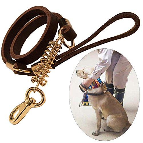 PLHF Guinzaglio per cani in pelle pura Catena per cani in vacchetta Molla tampone Corda di trazione in pelle pura Cani di grossa taglia Guinzaglio per cane a piedi Guidato