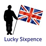British Flag Lucky Sixpence, great soldier good luck charm present