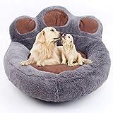 LA VIE Haustierbett Süßes Pfotenform Hundesofa Hundebett Weiches Hundekissen Comfort Hundematte Baumwoll-Bett für Kleiner Mittlerer Hunde Katzen Dunkelgrau M