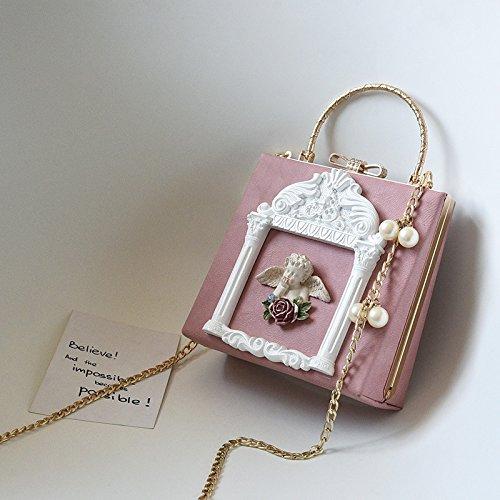 Zazero neuen Barock-Stil Handtasche Angel geprägt Retro Perle Kette Kleine Schultertasche, Pink...
