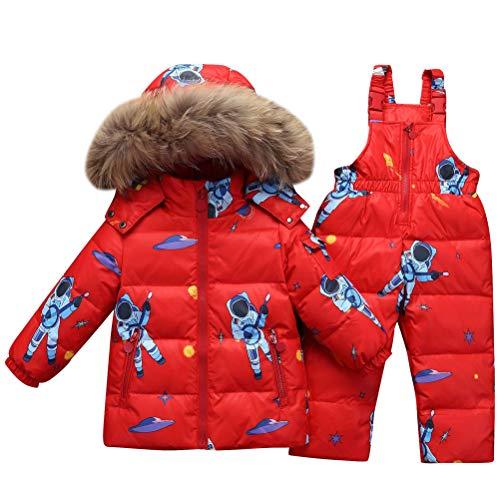 ARAUS Baby Schneeanzug Mädchen Daunenjacke + Daunenhosen Winterjacke mit Kapuzen -