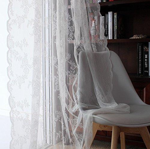 Tende di pizzo, semi-velato garza paese americano stile per soggiorno balcone bovindo-bianca 145x250cm(57x98inch)